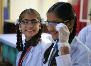 Girls are lab ready in Cuddalore, India!