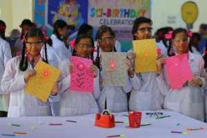 Future inventors and innovators pose in Mumbai