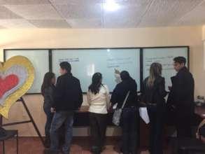 Students working at Program Evaluation workshop