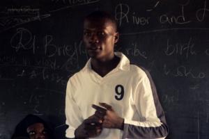 Boaz, a volunteer encouraging  the students