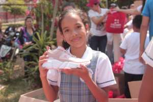 Donations of shoes and school supplies for them