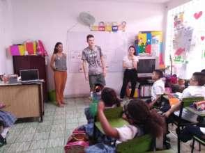 New international volunteers in English class