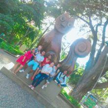 Teens group touristing their city of Cali