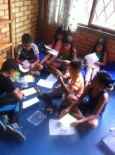 Afterschool class during art project