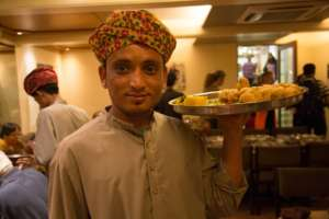 Serving food in restaurant