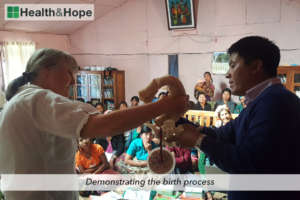 Demonstrating the birthing process