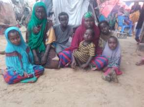 Uba and her children at the IDP camp.