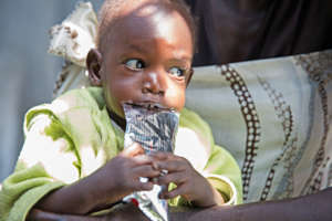 A child accesses an emergency nutrition program