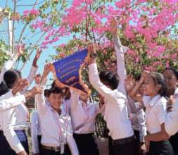 Students at Siem Reap's best school celebrate