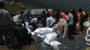 Food aid being readied for distribution