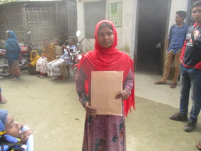Baby is standing with education Material package