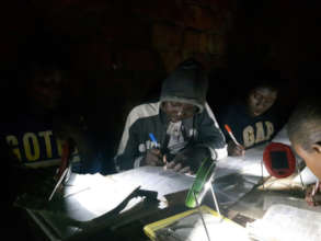 Students studying by solar light