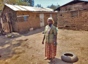 Esther at her village.