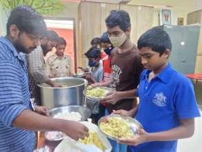 Children at Don Bosco nivas having quality food