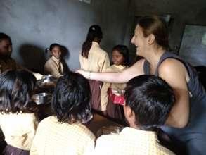 Distributing sweets