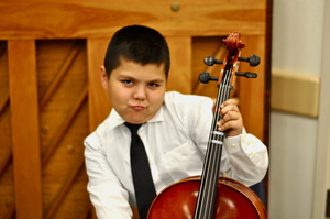 Student Javier Rocks on the Cello