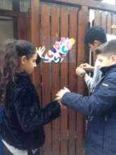 Children creating plaques