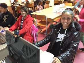 Aferdita and Kasandra in the Computer Lab