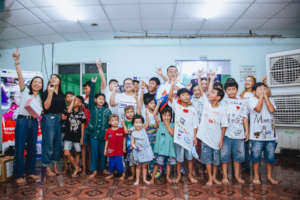 Rapper Wowy with children at Cepore Hocmon