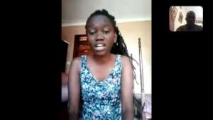 Beatrice in Zoom Singing lesson
