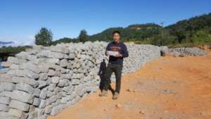 Locally quarried stone transported to site