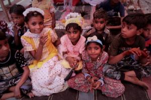 Children enjoying magic and puppet show