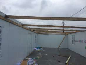 Damage to classroom roof