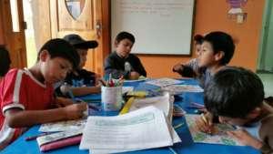 Children hard at work after school