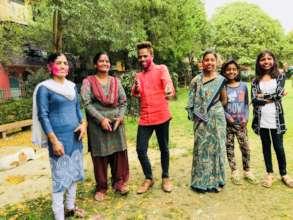 Families celebrating Holi festival