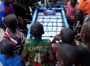 Playing with the new foosball table