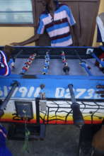 Playing foosball at the CH Hovde House