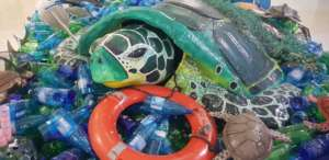 Turtle in the plastic ocean