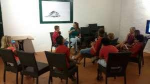 Schoolchildren interviewing Sabine