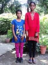 Street girl children wearing new clothes