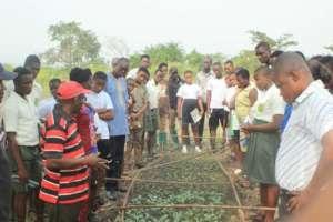 Students volunteering on the farm
