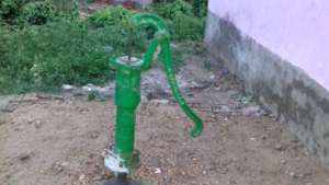 Hand pump in the shelter