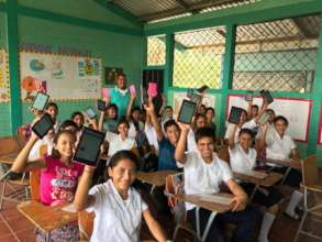 High School Students with Tablets