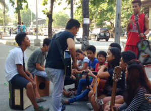 Music session with street kids