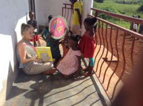 Reading time on the center's porch