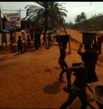 school age children accessing water source