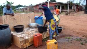Rural residents fetching water