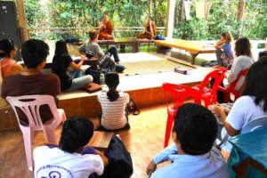 Students listen to Phra Paisal Visalo