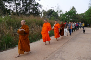 Alms Round With Monks During a Field Trip