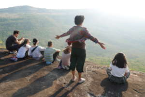 Students Look Out Over a Valley in Chaiyaphum