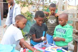 Children making use of developmental toys