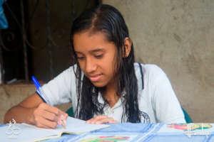 Yaneth doing her homework