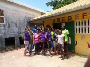 Volunteers after working on a pre school