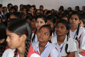 School girls attending awareness session