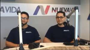 Team being hosted on Nueva Vida Radio.