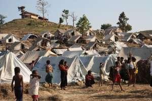 A temporary Rohingya refugee camp